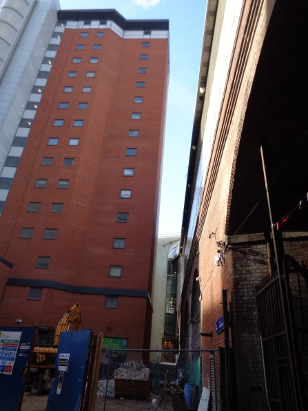 View taken on Jan 28 2016 from Little Neville Street of the site near the Dark Arches where the crane had been located.
