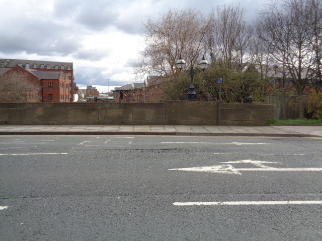 View looking to the Bench Mark on Victoria Bridge, Neville Street, Leeds (taken April 7 2016 at 11:51 a.m.).